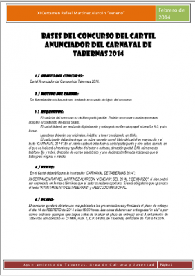 BASES CONCURSO CARTEL CARNAVAL 2014